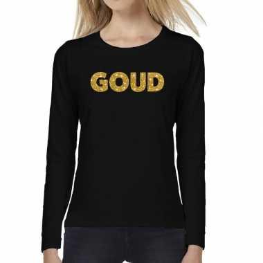 Goedkope zwart long sleeve t shirt met goud tekst bedrukking voor dam