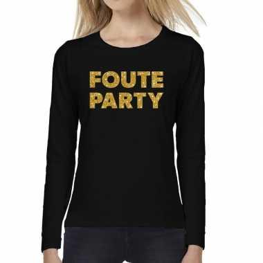 Goedkope zwart long sleeve t shirt met gouden foute party tekst voor