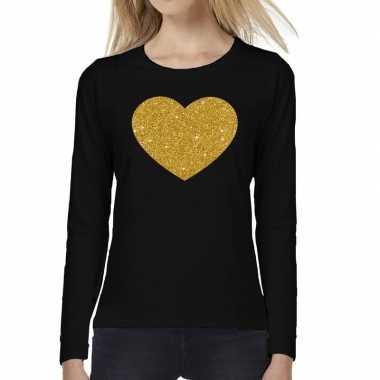 Goedkope zwart long sleeve t shirt met gouden hart voor dames