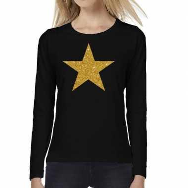 Goedkope zwart long sleeve t shirt met gouden ster voor dames