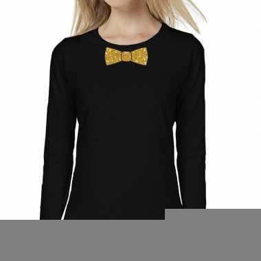 Goedkope zwart long sleeve t shirt met gouden strikdas voor dames