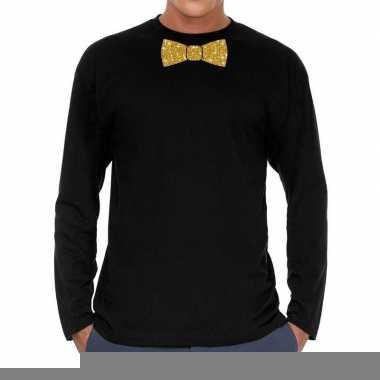 Goedkope zwart long sleeve t shirt met gouden strikdas voor heren