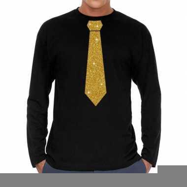 Goedkope zwart long sleeve t shirt met gouden stropdas voor heren