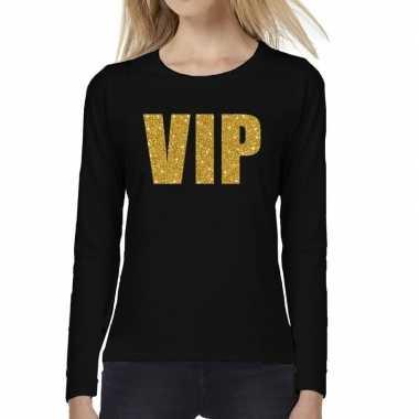 Goedkope zwart long sleeve t shirt met gouden vip tekst voor dames