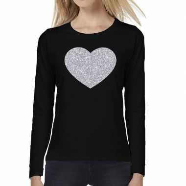 Goedkope zwart long sleeve t shirt met zilveren hart voor dames