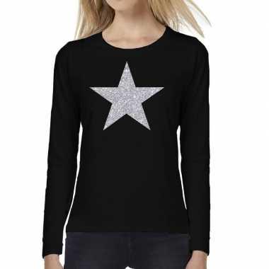 Goedkope zwart long sleeve t shirt met zilveren ster voor dames