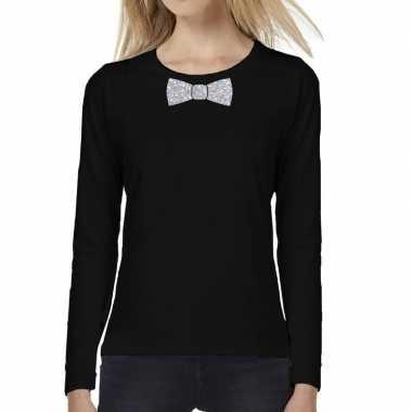 Goedkope zwart long sleeve t shirt met zilveren strikdas voor dames