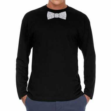 Goedkope zwart long sleeve t shirt met zilveren strikdas voor heren
