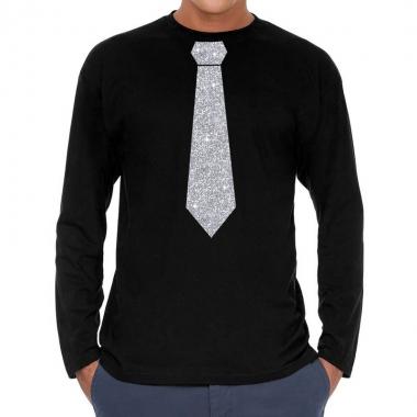 Goedkope zwart long sleeve t shirt met zilveren stropdas voor heren