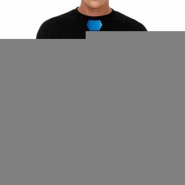 Goedkope zwart long sleeve t shirt zwart met blauwe stropdas bedrukki