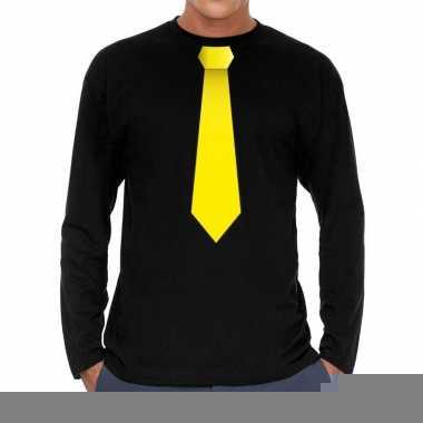 Goedkope zwart long sleeve t shirt zwart met gele stropdas bedrukking