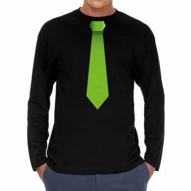 Goedkope zwart long sleeve t shirt zwart met groene stropdas bedrukki