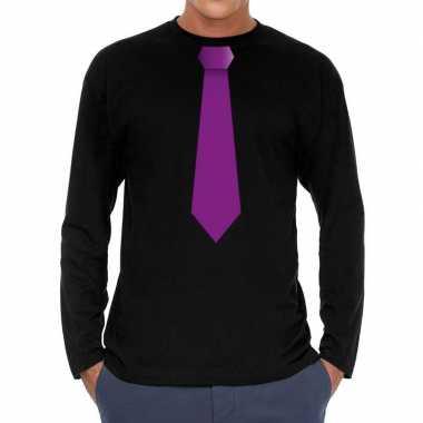 Goedkope zwart long sleeve t shirt zwart met paarse stropdas bedrukki