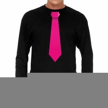 Goedkope zwart long sleeve t shirt zwart met roze stropdas bedrukking