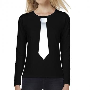 Goedkope zwart long sleeve t shirt zwart met witte stropdas bedrukkin