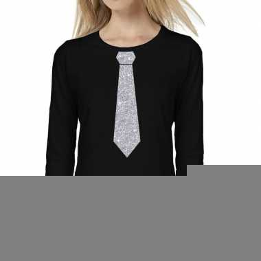 Goedkope zwart long sleeve t shirt zwart met zilveren glitter stropda