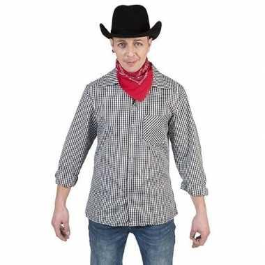 Goedkope zwart met wit geruit cowboy overhemd voor heren