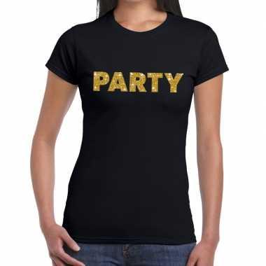 Goedkope zwart party goud fun t shirt voor dames