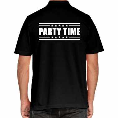 Goedkope zwart party time polo t shirt voor heren