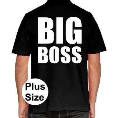 Goedkope zwart plus size big boss polo t shirt voor heren