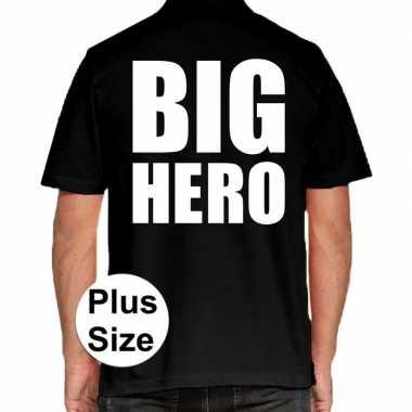 Goedkope zwart plus size big hero polo t shirt voor heren