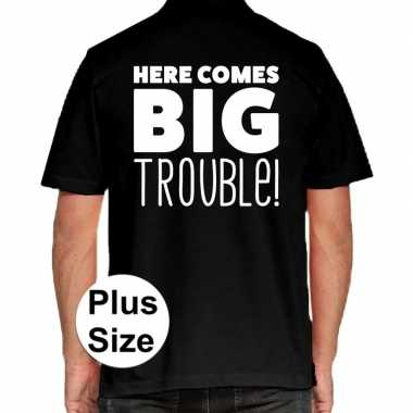 Goedkope zwart plus size here comes big trouble polo t shirt voor her