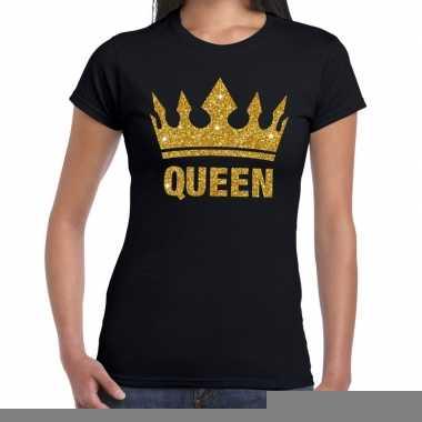 Goedkope zwart queen met gouden kroon t shirt dames