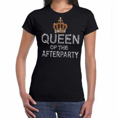Goedkope zwart queen of the afterparty glitter steentjes t shirt dame