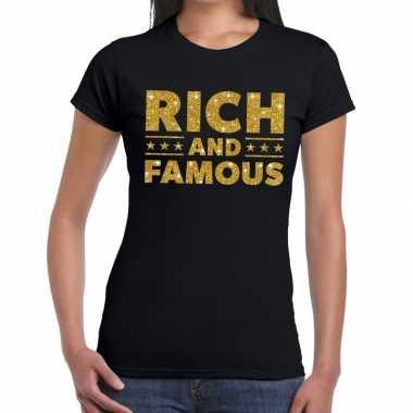 Goedkope zwart rich and famous goud fun t shirt voor dames
