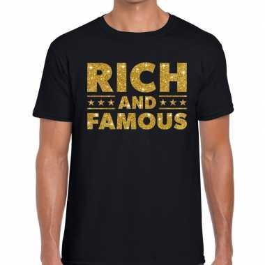 Goedkope zwart rich and famous goud fun t shirt voor heren