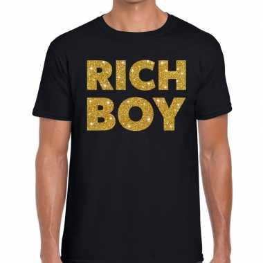Goedkope zwart rich boy goud fun t shirt voor heren