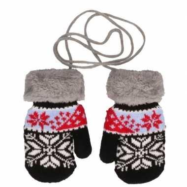 Goedkope zwart/rode gebreide handschoenen met noorse print voor peuters