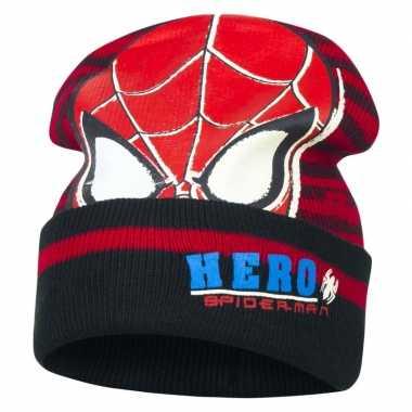 Goedkope zwart/rode spiderman wintermuts voor jongens