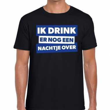 Goedkope zwart t shirt ik drink er nog een nachtje over fun t shirt h