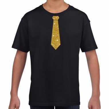Goedkope zwart t shirt met gouden stropdas voor kinderen