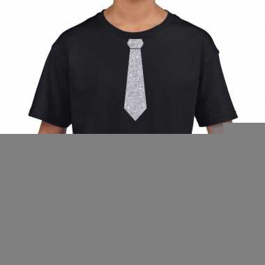 Goedkope zwart t shirt met zilveren stropdas voor kinderen