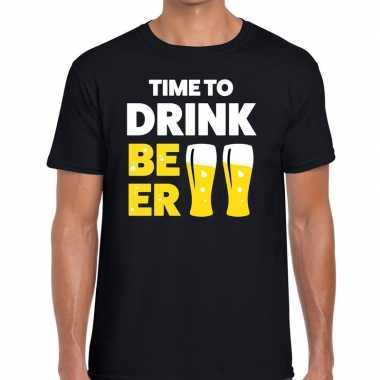Goedkope zwart time to drink beer fun t shirt voor heren