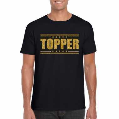 Goedkope zwart topper shirt in gouden glitter letters heren