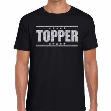 Goedkope zwart topper shirt in zilveren glitter letters heren