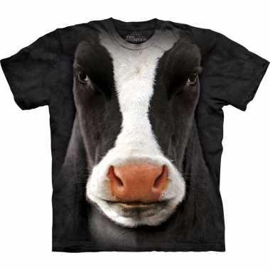 Goedkope zwart/wit realistisch koeien t shirt