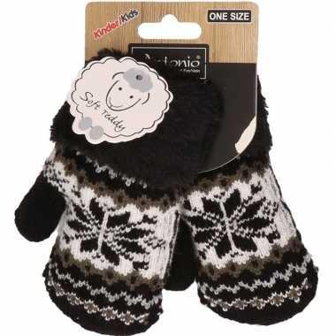 Goedkope zwart/witte gebreide handschoenen met noorse print voor peuters