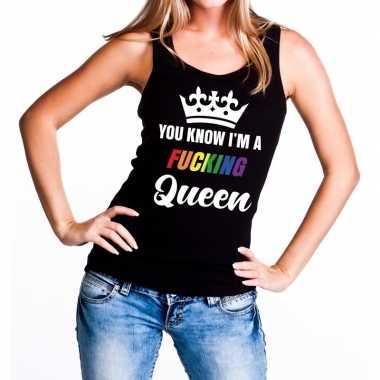 Goedkope zwart you know i am a fucking queen tanktop / mouwloos shirt