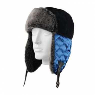 Goedkope zwarte bontmuts met blauwe oorflappen