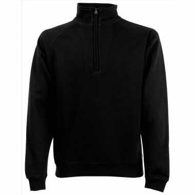 Goedkope zwarte fleecetrui/fleecesweater voor heren