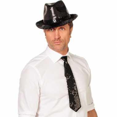 Goedkope zwarte glitter verkleed stropdassen 32 cm voor dames/heren