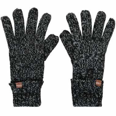 Goedkope zwarte/grijze gemeleerde handschoenen met fleece voering voor jongens/meisjes/kinderen
