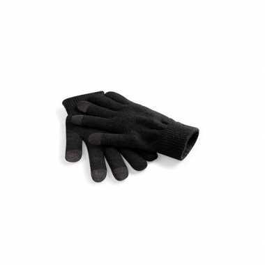 Goedkope zwarte gsm/tablet gebruik heren handschoenen