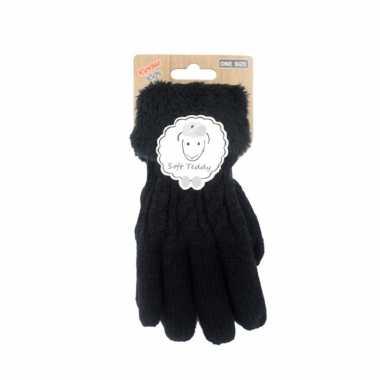 Goedkope zwarte handschoenen gebreid teddy voor jongens/meisjes/kinderen