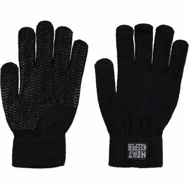 Goedkope zwarte handschoenen met thermo voering voor jongens/meisjes/kinderen