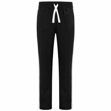 Goedkope zwarte joggingbroek/huisbroek met streep voor heren